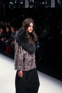 Model wears fur jacket