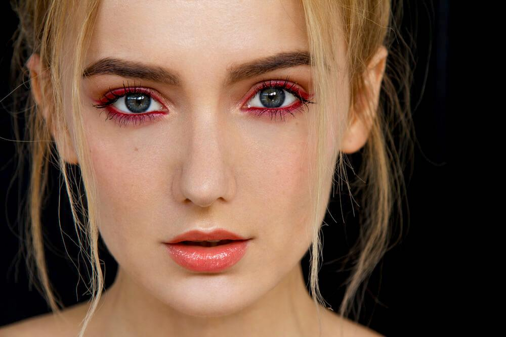woman with sultry red eyeshadow