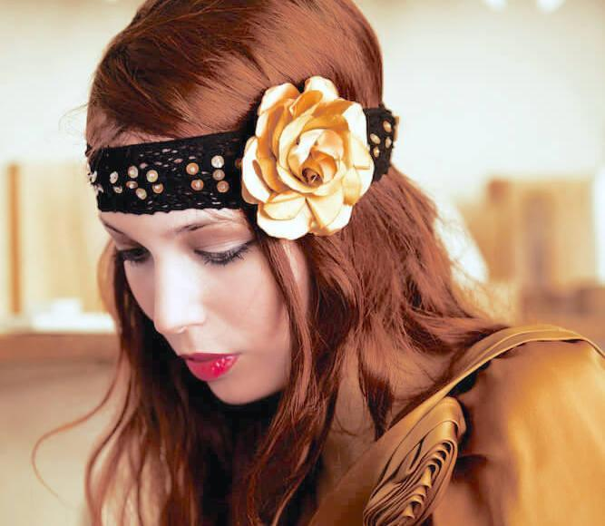 Young pretty woman with floral headband
