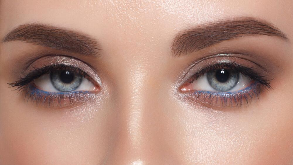Closeup of woman's eyes with light makeup