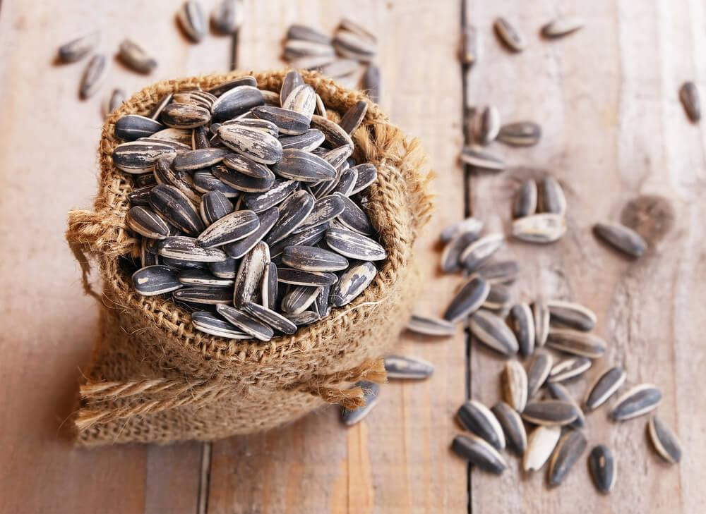 Sunflower seeds in a basket