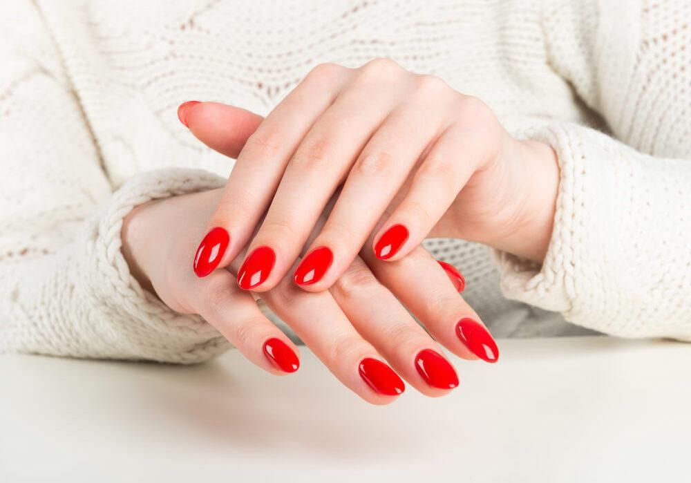 Beautiful hands with red nails