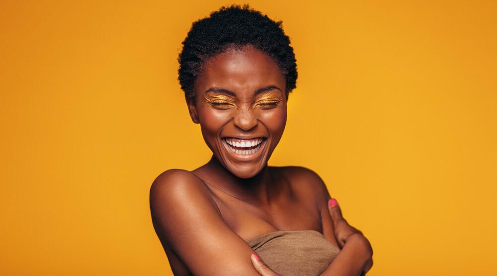 Woman with yellow eyeshadow