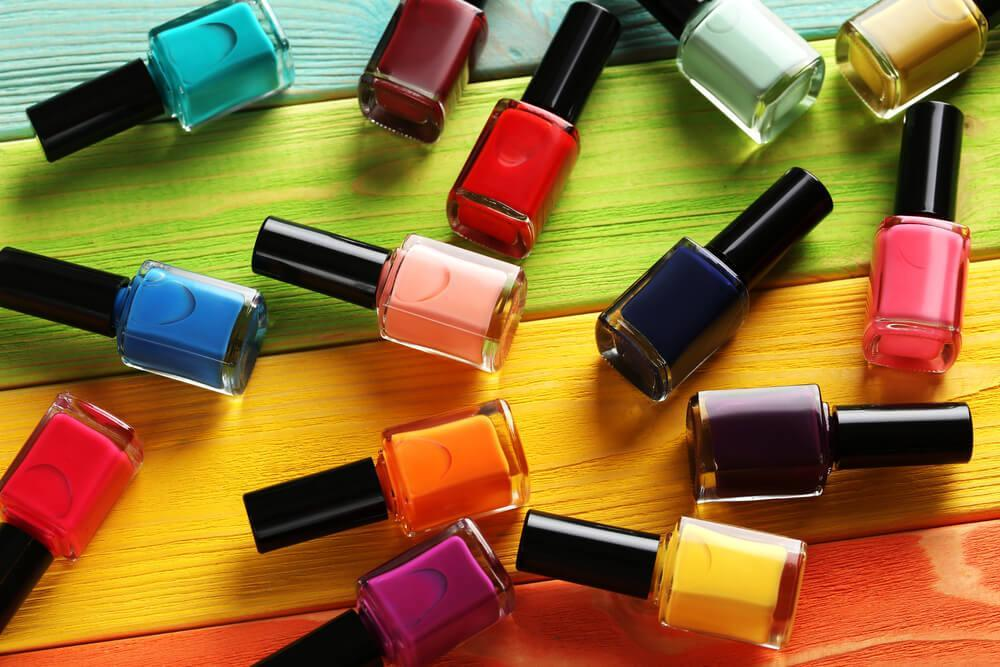 Nail polishes on table