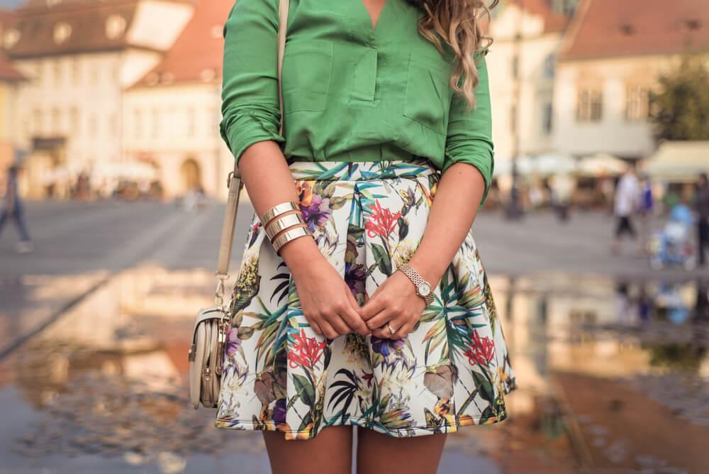 Close-up of stylish woman on street