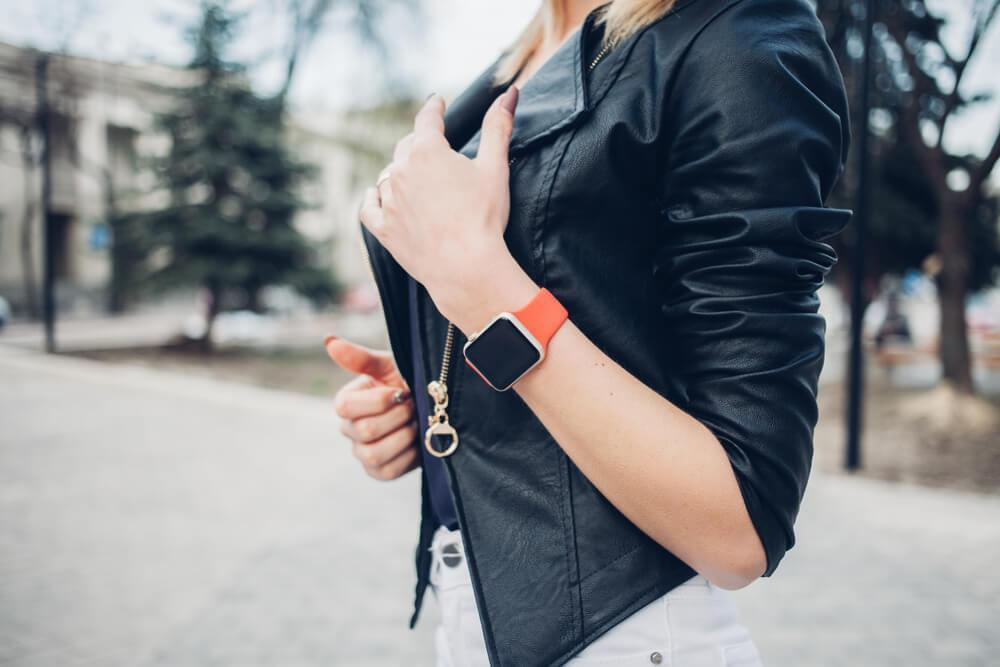 Woman wearing smart watch